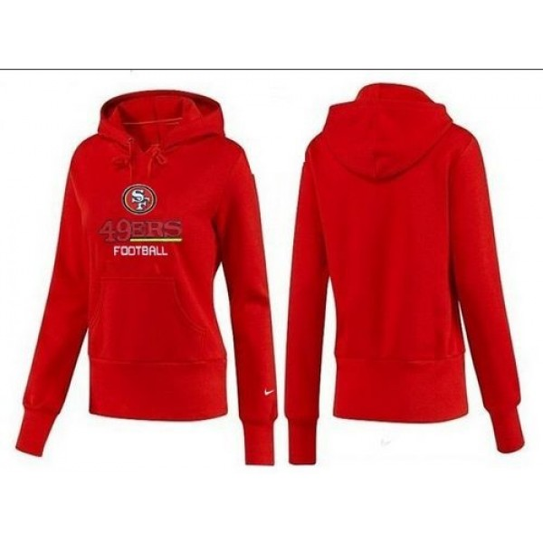 Women's San Francisco 49ers Authentic Logo Pullover Hoodie Red Jersey