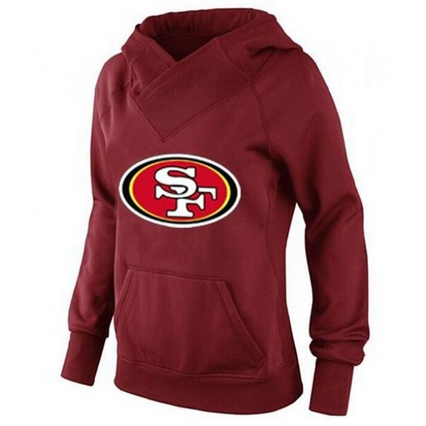 Women's San Francisco 49ers Logo Pullover Hoodie Red Jersey
